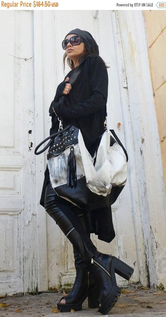 15% OFF Black and White Maxi Bag / Oversize Leather Tote Bag / Fringe Tassel Bag / High Quality Tote Asymmetrical Large Bag by METAMORPHOZA