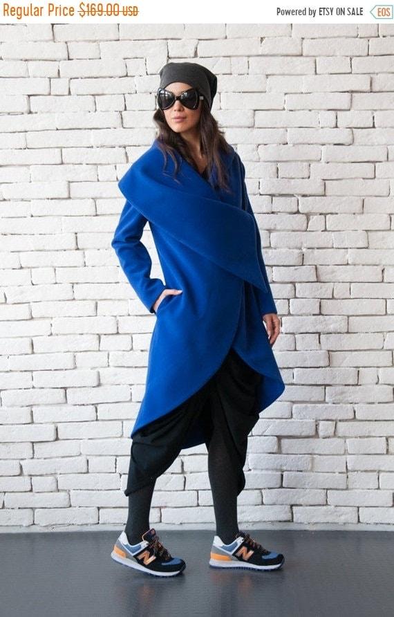 25% OFF Blue Long Coat/Royal Blue Loose Jacket/Extravagant Large Collar Blazer/Casual Winter Coat/Asymmetric Blue Jacket/Plus Size Coat METC
