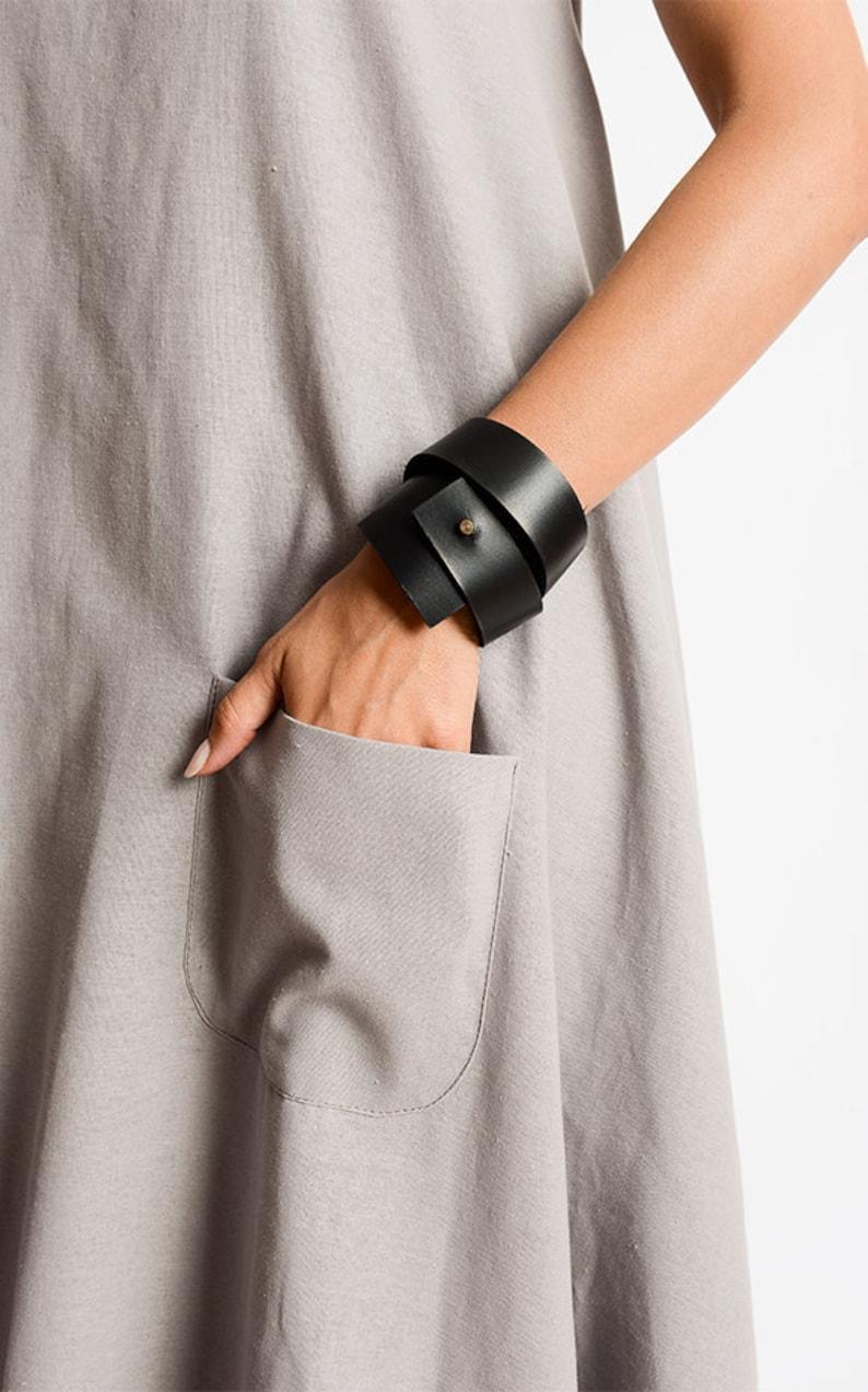Black Genuine Leather Bracelet/Leather Wrap image 0