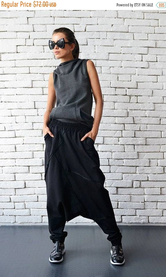 20% OFF Extravagant Black Pants/Loose Casual Pants/Comfortable Drop Crotch Pants/Oversize Harem Pants/Wide Leg Hippie Pants METP0026