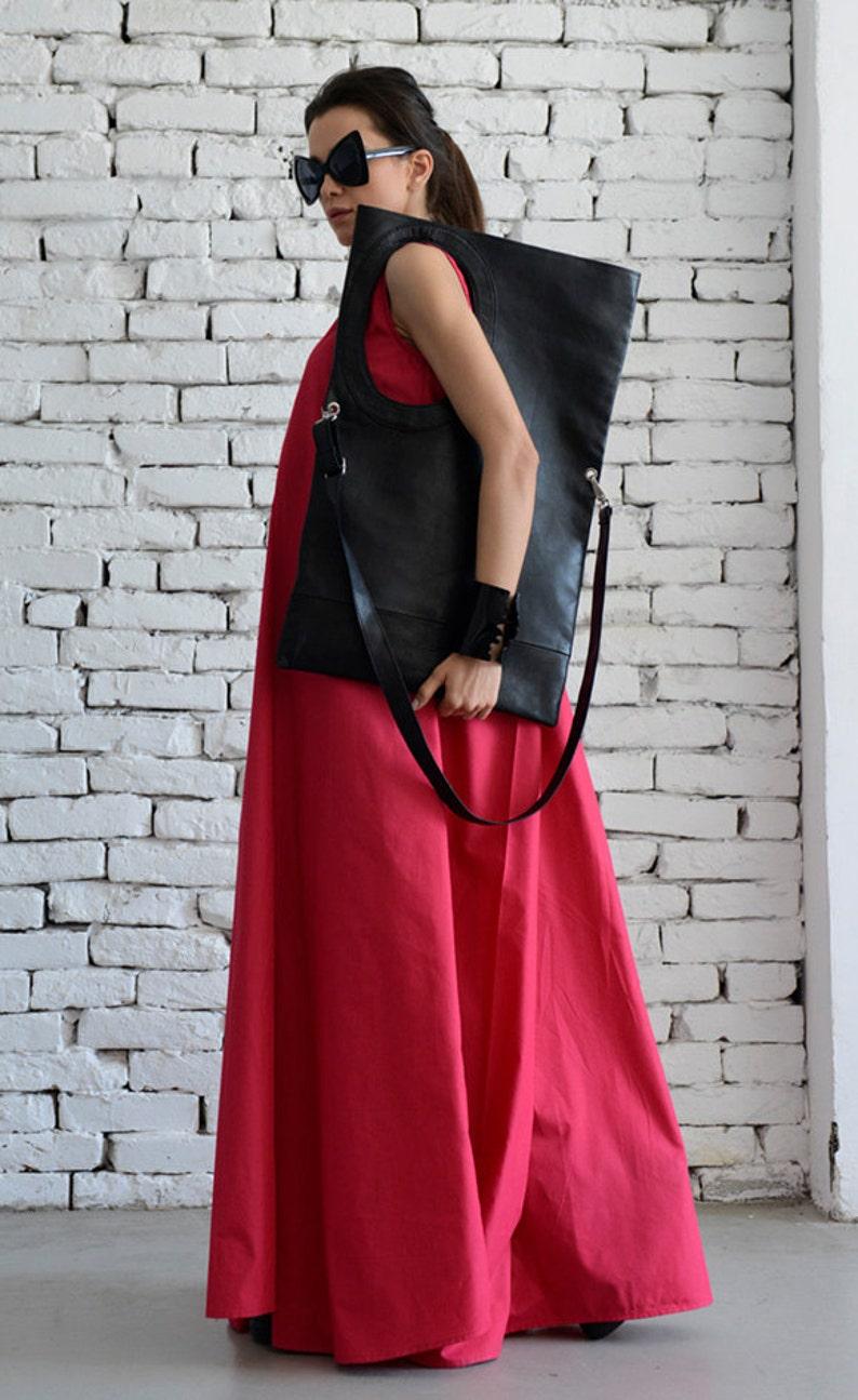 Black Maxi Bag/Extravagant Circle Tote/Genuine leather Black image 0