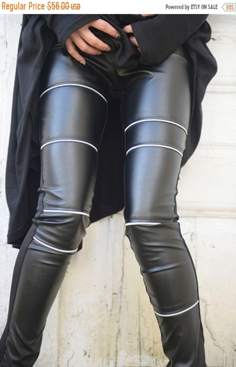 speical offer durable in use huge inventory SALE Black Leather Tight Fit Pants / Sexy Zipper Leather Leggings / Front  Leather Pants with Cotton Back / Long Slim Fit Pants by METAMORPHO