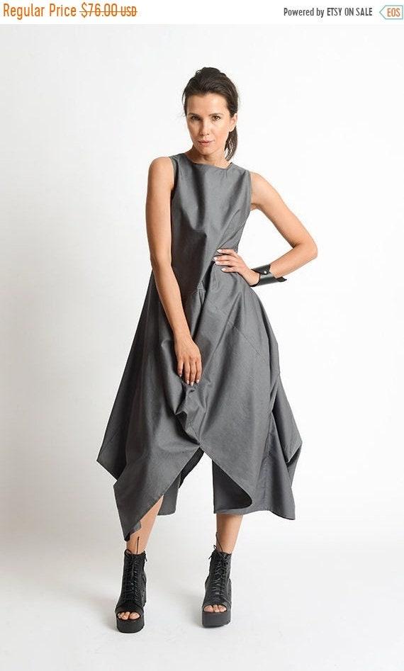 20% OFF Grey Loose Oversize Dress/Plus Size Casual Dress/Extravagant Tunic Dress/Grey Maxi Dress/High Low Tunic Top/Sleeveless Asymmetric Ka