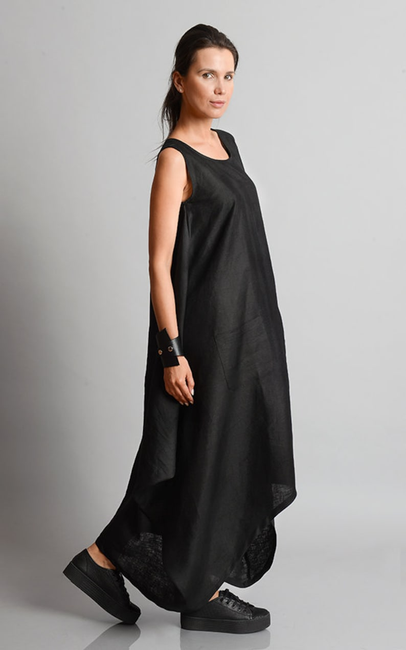 Black Maxi Dress/Plus Size Linen Dress/Asymmetric Black v6eaNP7i