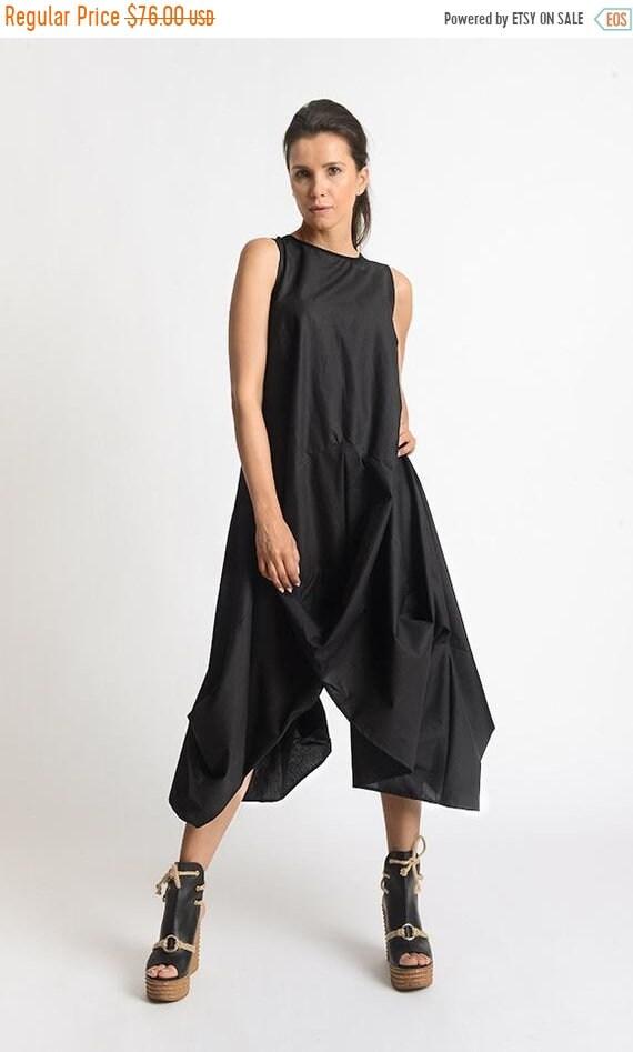 20% OFF Black Asymmetric Dress/Extravagant Tunic Dress/Sleeveless Loose Dress/Black Kaftan/Handmade Extravagant Dress/Casual Black Dress MET