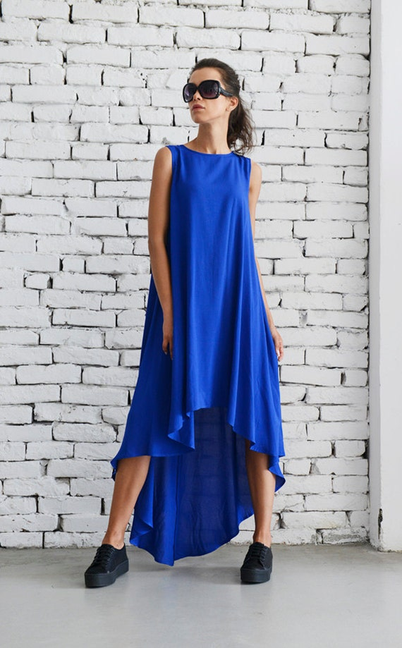 Loose Royal Blue Dress/Asymmetric Casual Dress/Oversize Blue Tunic  Top/Sleeveless Summer Kaftan/Plus Size Maxi Dress/Blue Elegant Dress