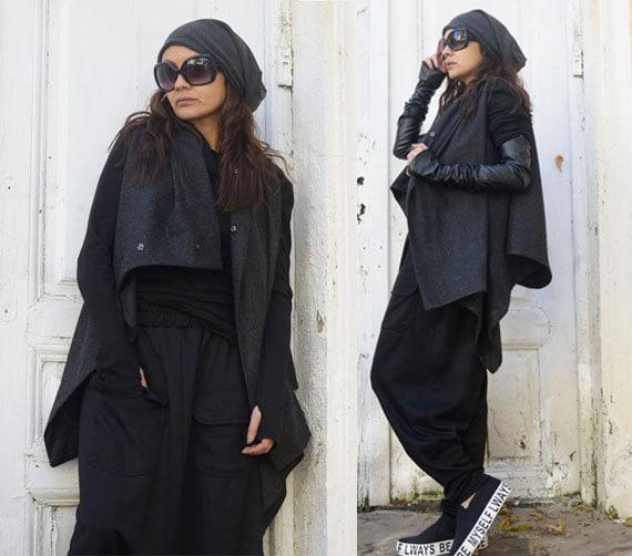 Grey High Quality Sleeveless Coat / Asymmetrical Loose Vest / Modern Wool Cardigan / Loose Grey Blazer by METAMORPHOZA