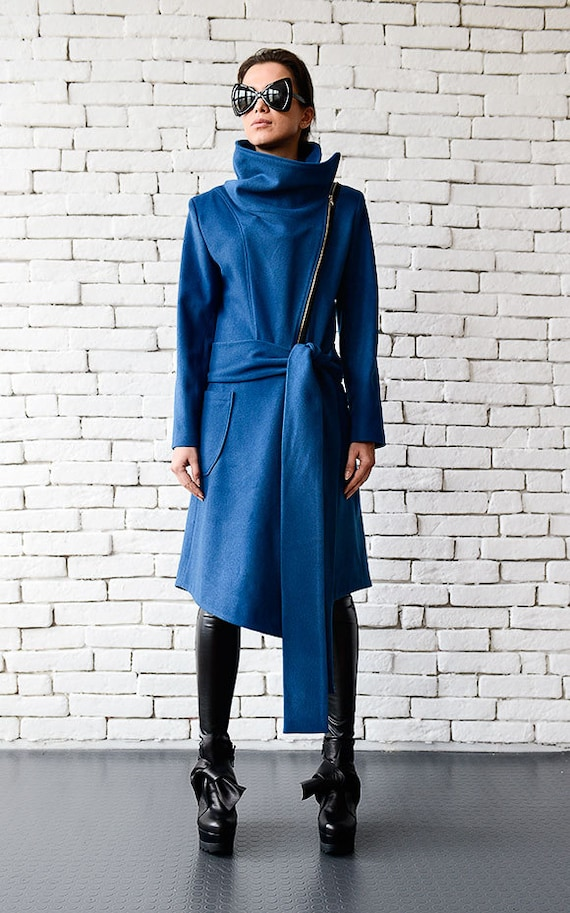 Blue Cashmere CoatLong Elegant CoatAsymmetric Blue JacketCasual Winter CoatLoose Blue CardiganLarge Collar Warm Jacket METC0003