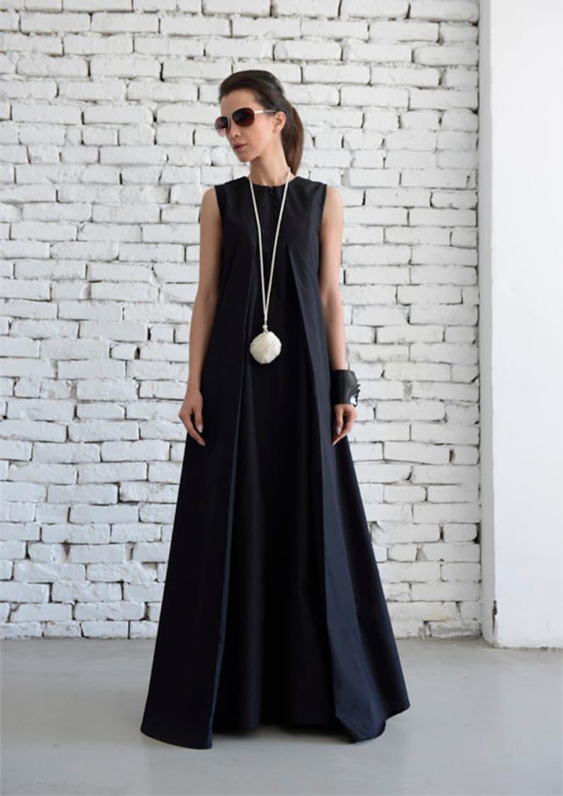 fd17e83ed872 Nero Maxi Dress sciolto lungo vestito Plus Size nero