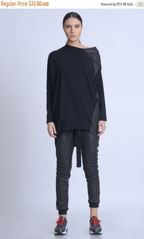 20% OFF NEW Black Tunic with Suede/Open Shoulder Long Top/Asymmetric Loose Blouse/Black Suede Casual Shirt/Long Sleeve Maxi Tunic METT0157