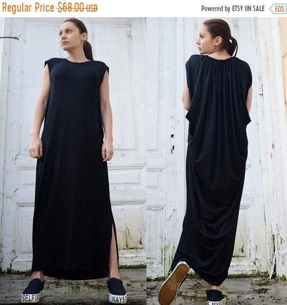 20% OFF Maxi Black Dress/Oversize Black Kaftan/Sleeveless Dress with Slits/Loose Long Tunic/Spring Long Top/Black Maxi Dress/Plus Size Dress
