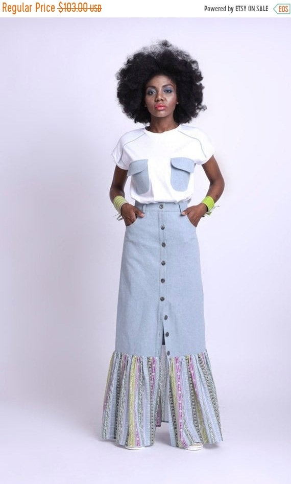 35% OFF Colorful Skirt with Denim/Long Light Blue Jean Skirt/Extravagant Multi Color Skirt/Long Button Skirt/Party Skirt with Accent