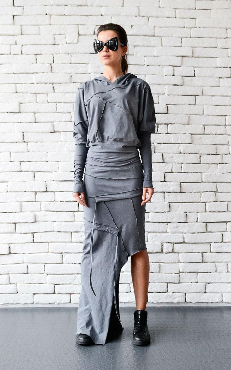 Grey Asymmetric Dress/Extravagant Casual Dress/Grey Loose image 0