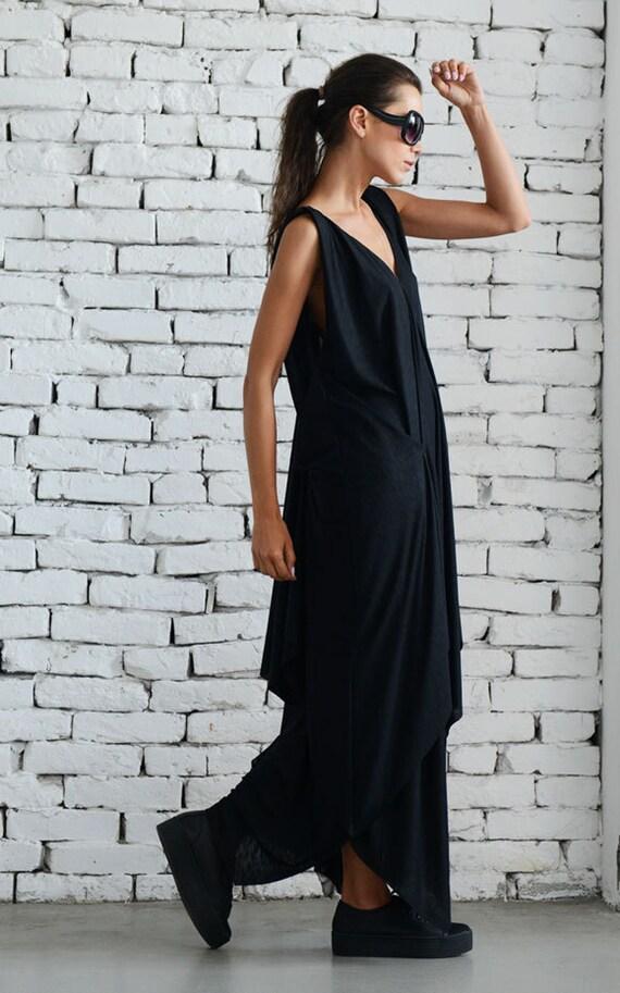 Long Black Dress/Maxi Black Dress/Loose Black Dress/Evening Black Dress/Oversize Black Dress/Long Loose Dress/Asymmetric Dress METD0041