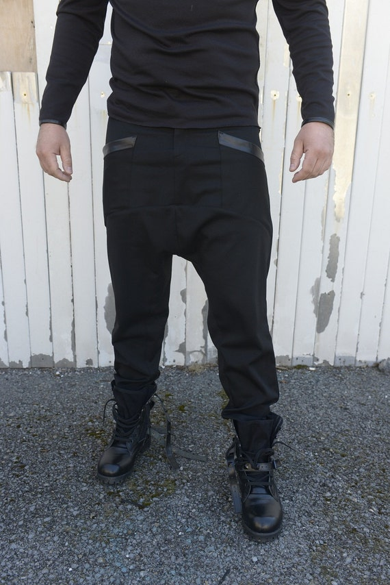 Black Pants for Men / Drop Croth Pants / Loose Harem Pants / Urban Style Pants / Long Pants / Plus Size Available - XXL, XXXL, XXXXL