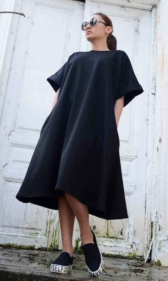 Sale Black Midi Loose Dressoversize Short Sleeve Tunicplus Etsy