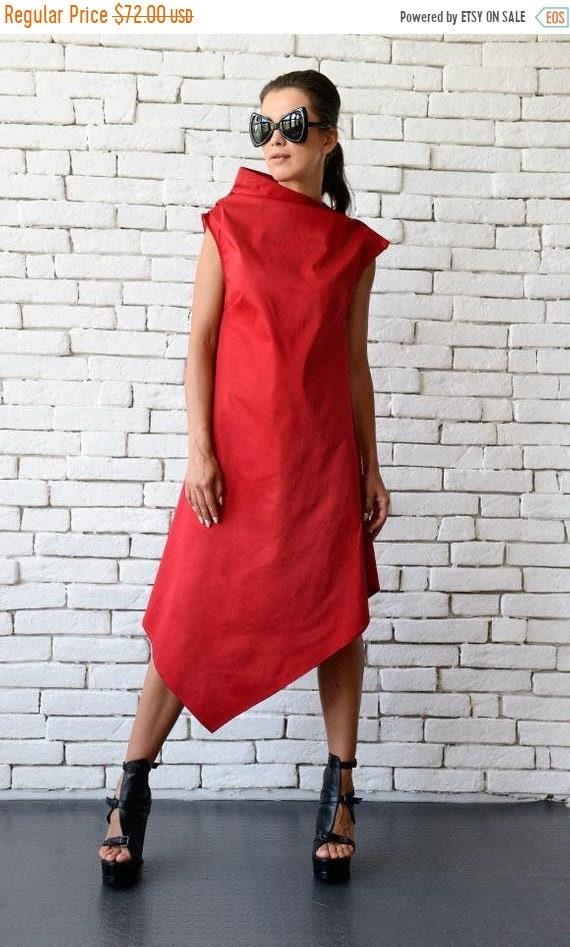 20% OFF Red Asymmetric Dress/Long Short Tunic Top/Casual Summer Dress/Plus Size Dress/Red Long Tunic Top/Oversize Loose Dress/Sleeveless Dre