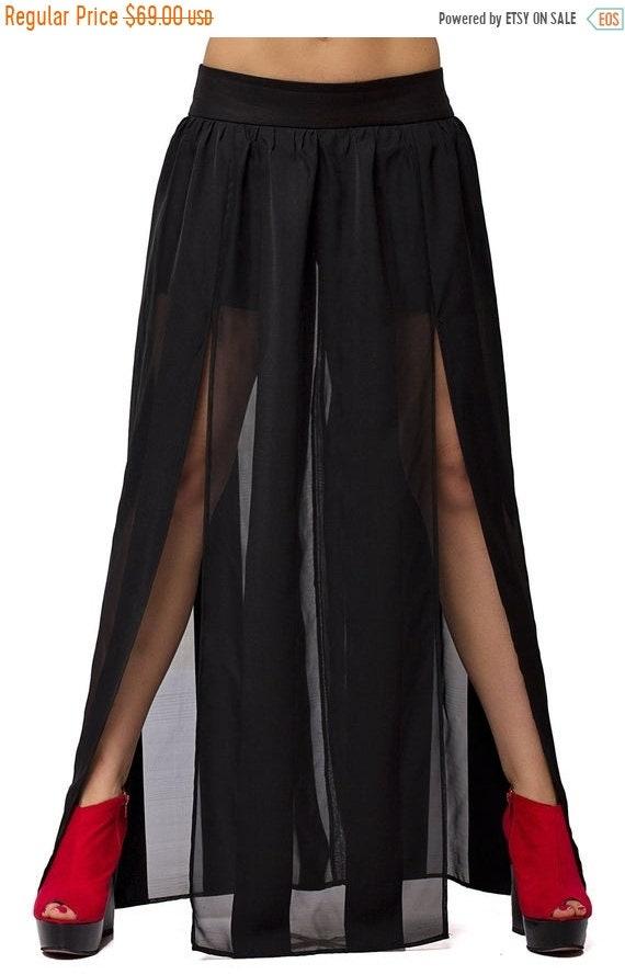 25% OFF Sheer Maxi Skirt /Black Long Skirt / Trendy Sheer Skirt /Summer Party Skirt /Extravagant Black Skirt / Stage Outfit Skirt / Black Ma