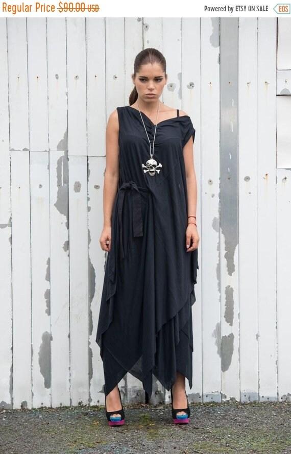 20% OFF Long Black Dress / Draped Belted Dress / Oversize Tunic / Loose Belted Dress / Black Casual Dress / Handmade Dress