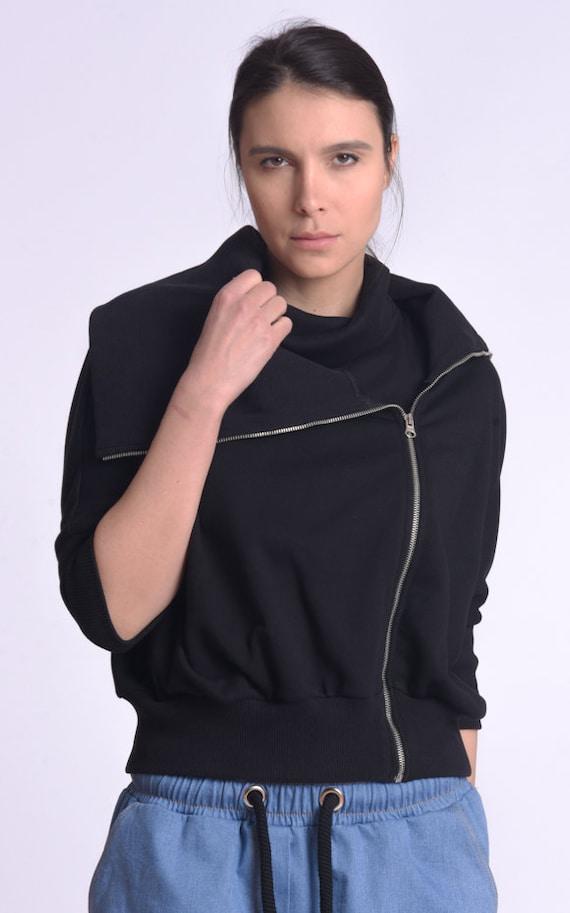 NEW Casual Tracksuit Jacket / Comfortable Black Jacket/ Plus Size Top by METAMORPHOZA