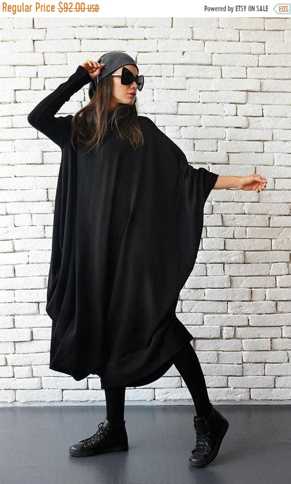 20% OFF Maxi Black Dress/Black Kaftan Dress/Extravagant Plus Size Dress/Comfortable Everyday Dress/Long Loose Tunic/Oversize Long Dress METD