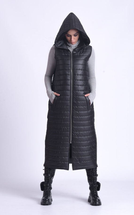 NEW Hooded Black Vest/Long Sleeveless Jacket/Sleeveless Down Coat/Warm Winter Vest/Loose Black Vest/Long Zipper Jacket with Hood METC0082