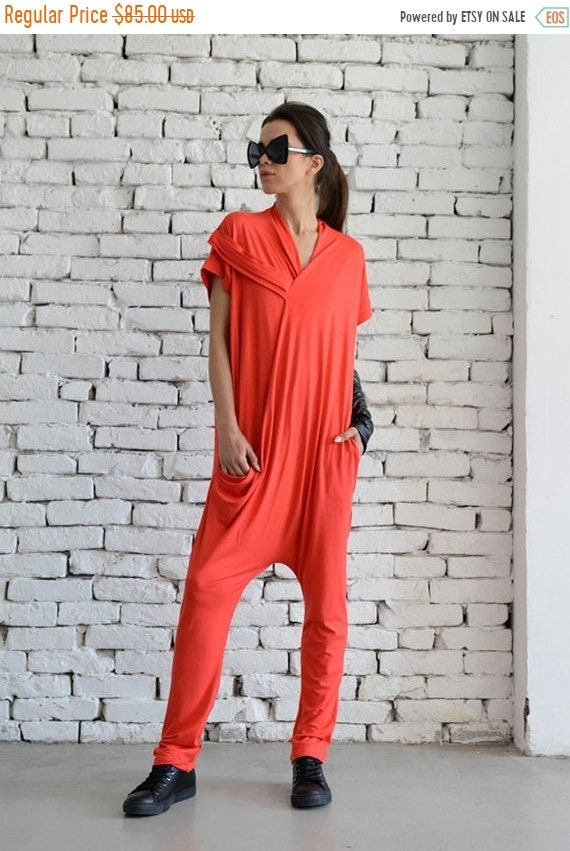 15% OFF Red Casual Jumpsuit/Oversize Summer Suit/Short Sleeve Loose Tunic/Red Harem Pants/Loose Jumpsuit/Plus Size Red Overall/Maxi Onepiece