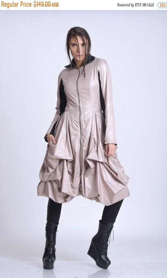 25% OFF NEW Draped Dress Jacket/Elegant Womens Coat/Asymmetric Loose Jacket/Extravagant Zipper Coat/Formal Knee Length Coat/Fitted Waist Coa