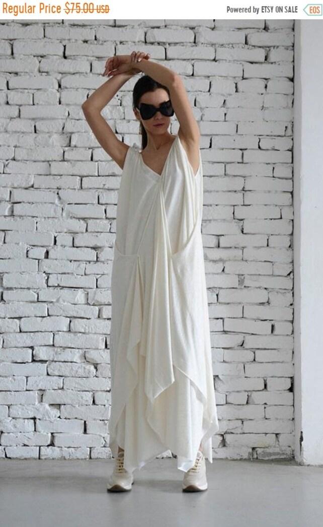 81ec0efefb0 SALE White Maxi Dress Asymmetric Dress Off White Kaftan Long