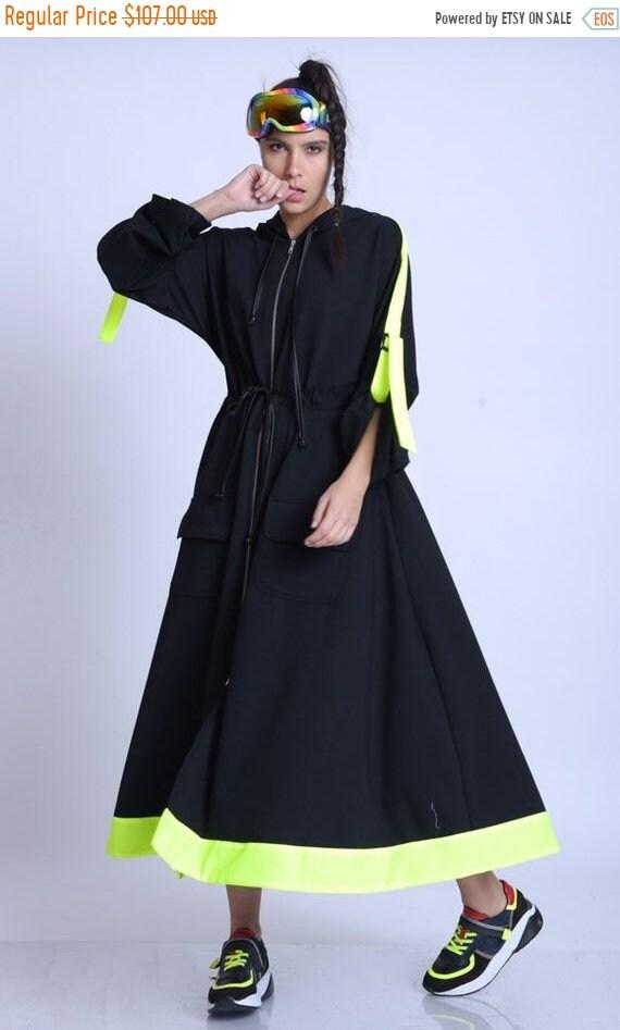 15% OFF META SPORT Plus Size Neon Accent Dress/Extravagant Oversize Jacket/Black Zipper Dress/Long Sleeve Kaftan/Adjustable Waist Dress/Hood