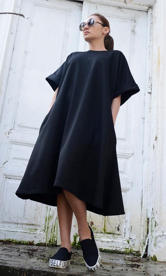 Black Midi Loose Dress/Oversize Short Sleeve Tunic/Plus Size Black Maxi Dress/Spring Black Short Kaftan/Comfortable Sexy Casual Short Dress