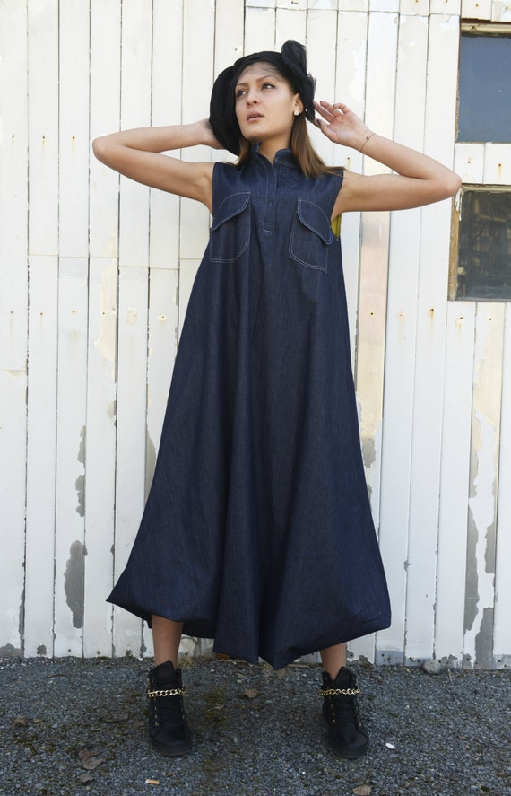 Dark Denim Maxi Dress Kaftan by METAMORPHOZA