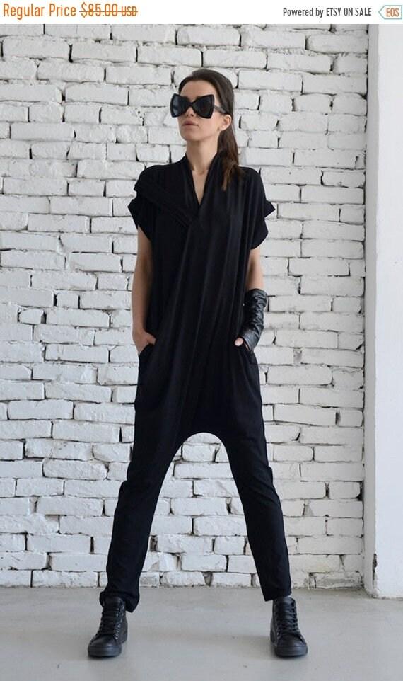 15% OFF Black Casual Jumpsuit/Loose Maxi Jumpsuit/Tight Leg Jumpsuit/Sleeveless Black Jumpsuit/Extravagant Summer Onepiece/Harem Pants Suit