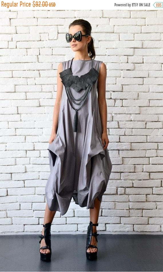 20% OFF Grey Loose Asymmetric Dress/Extravagant Party Dress/Plus Size Tunic/Oversize Long Top/Grey Summer Kaftan/Sleeveless Maxi Dress METD0