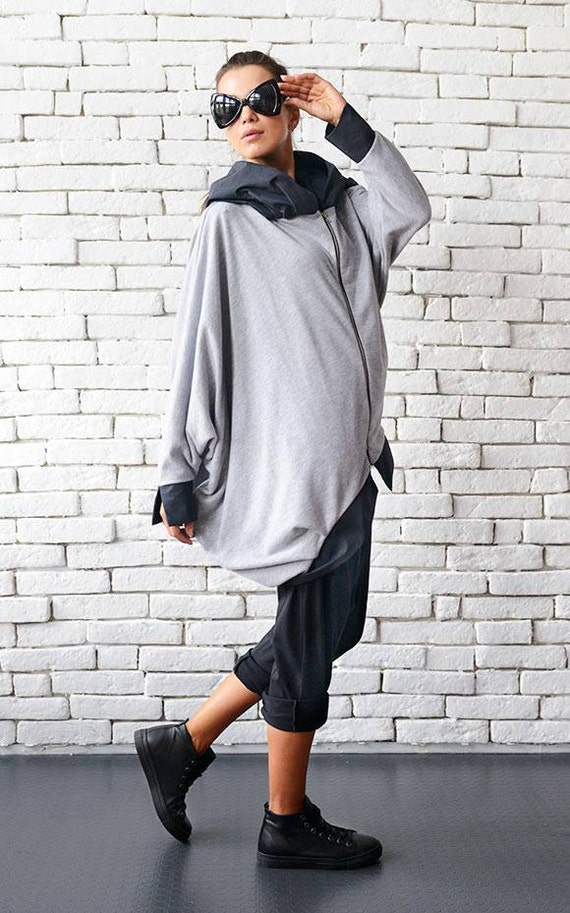Grey Asymmetric Jacket/Coat with Big Hood/Plus Size Hooded Top/Grey Maxi Jacket/Oversize Loose Grey Tunic/Hooded Jacket  METC0001