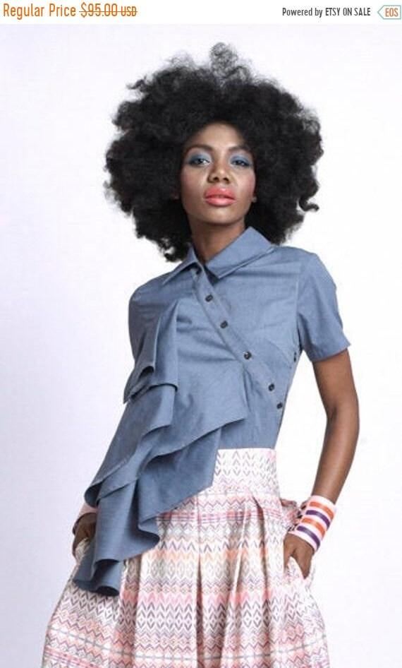 35% OFF Asymmetric Denim Shirt/Extravagant Puffy Top/Short Sleeve Top/Collar Shirt/Part Button Shirt/Long Front Jean Top