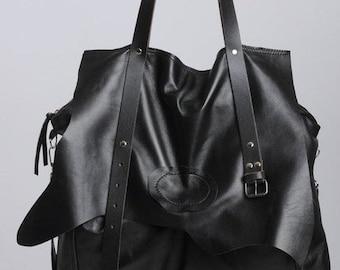Extravagant Leather Belt Bag/Maxi Black Genuine Leather Bag/Oversize Tote Bag with Belt/Large Black Purse/Black Designer Bag/Everyday B