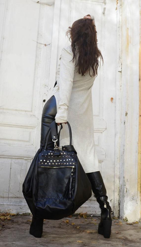 Maxi Black Leather Bag / Multiple Straps Tote / Large Shoulder Bag / Fringe Tassel Genuine Leather Bag / Duffle Bag by METAMORPHOZA