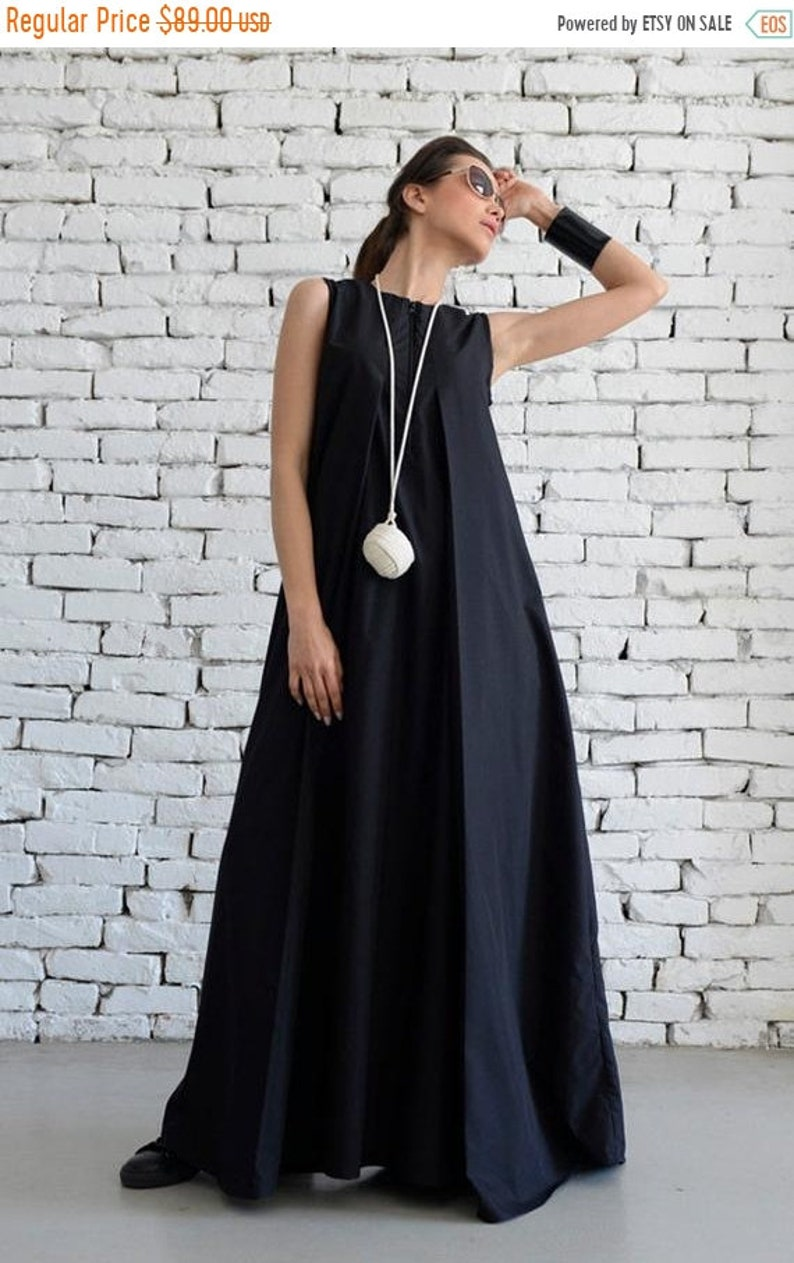 SALE Plus Size Maxi Dress/Loose Kaftan/Casual Sleeveless Dress/Front Zipper  Black Dress/Oversize Tunic/No Sleeve Cotton Dress/Everyday Dress