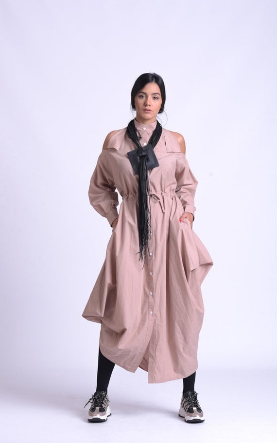 NEW Beige Asymmetric Dress/Extravagant Dress with Adjustable Waist/Long Loose Shirt Dress/Collared Dress with Long Sleeves METD0152