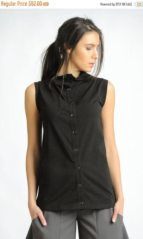 20% OFF Black Sleeveless Top/Black Studded Blouse/Casual Everyday Black Top/Extravagant Shirt with Metal Studs at the Front/Loose Black Top