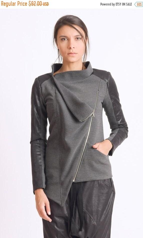 25% OFF Extravagant Coat/Asymmetric Everyday Jacket/Long Sleeve Suede Tunic/Loose Long Top/Casual Asymmetric Tunic/Grey and Black Zipper Coa