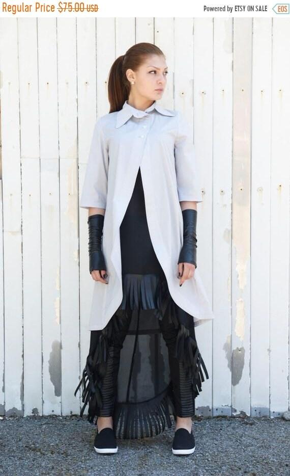 35% OFF Gray Asymmetric Shirt / Long Loose Tunic / Short Sleeve Top / Extravagant Tunic Top / Long Maxi Tunic / Grey Collar Shirt by METAMOR