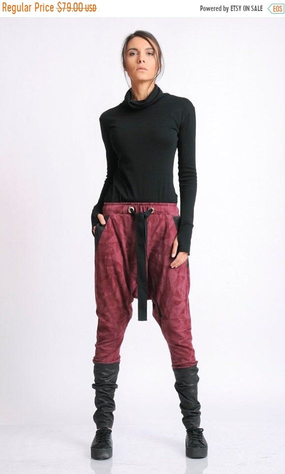 35% OFF Extravagant Drop Crotch Pants/Loose Black and Red Pants/Oversize Maxi Trousers/Pants with Suede Details/Long Maxi Pants/Red Gypsy Pa