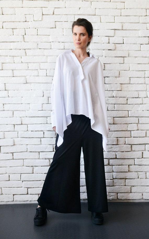 Oversized Tunic Plus Size Shirt White Tunic Maxi Tunic Top Summer Tunic Boho Tunic Loose Shirt Shirt Tunic Casual Tunic Linen Shirt