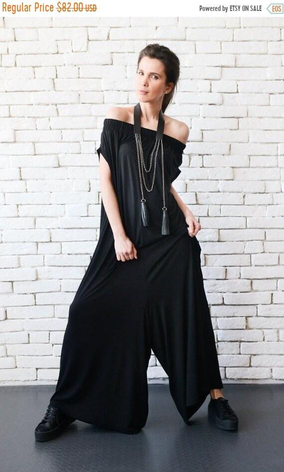 25% OFF Black Maxi Jumpsuit/Extravagant Wide Leg Romper/Plus Size Long Jumpsuit/Everyday Casual Jumpsuit/Black Loose One Piece/Oversize Romp