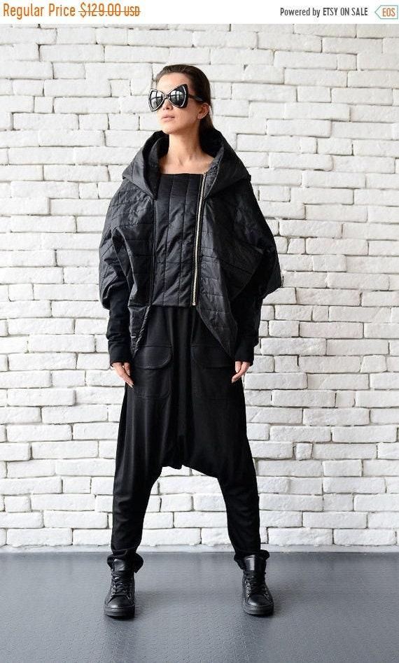 25% OFF Extravagant Long Short Jacket/Asymmetric Black Coat/Oversize Cardigan/Loose Black Poncho/Black Hooded Jacket/Comfortable Black Maxi