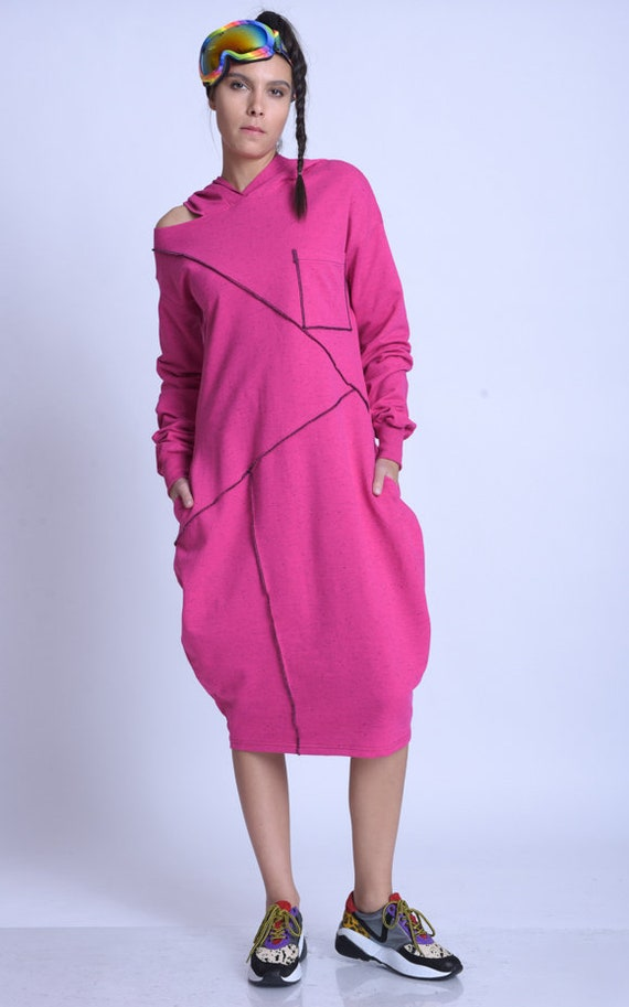 META SPORT Long Sleeve Hooded Dress/Extravagant Maxi Dress/Oversize Long Tunic/Plus Size Casual Tunic Dress/Comfortable Everyday Dress