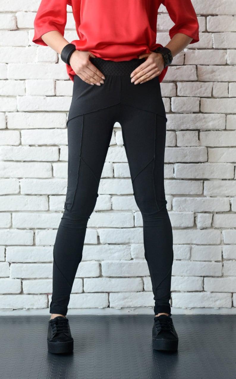 Black Tight Leggings/Long Slim Pants/Extravagant Modern Urban image 0
