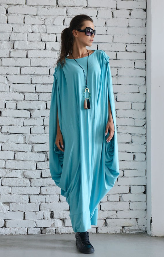 Blue Mint Dress/Blue Maxi Dress/Extravagant Blue Dress/Blue Long Dress/Casual Asymmetrical Dress/Asymmetric Blue Dress/Oversize Tunic Top